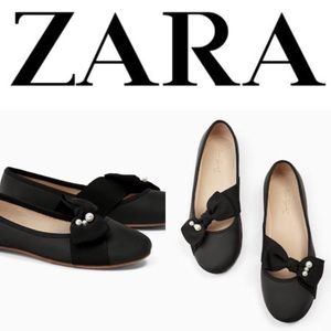 NWT Zara toddler girl 9 faux pearl bow black flats